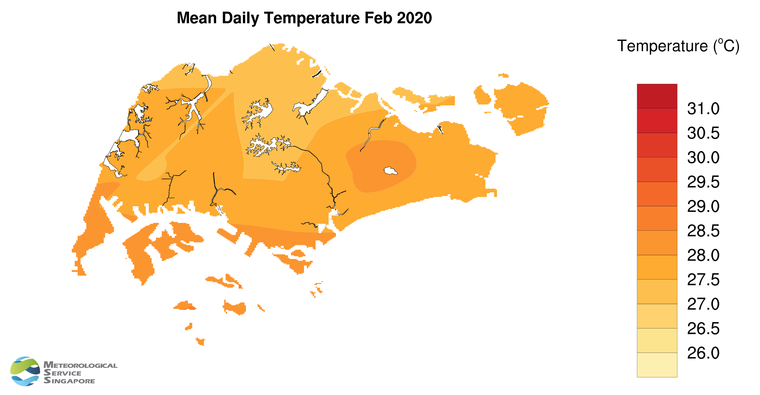 annual mean daily temperature