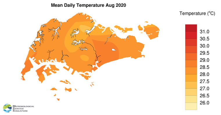 annual mean daily temperature