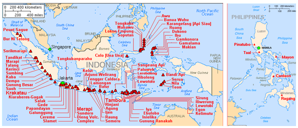 Major active volcanoes in Indonesia and the Phillipines