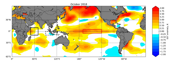 Sea-surface temperature anomaly over the Pacific and Indian Oceans.