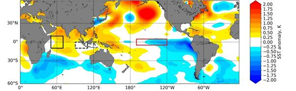 Sea surface temperature anomaly plot