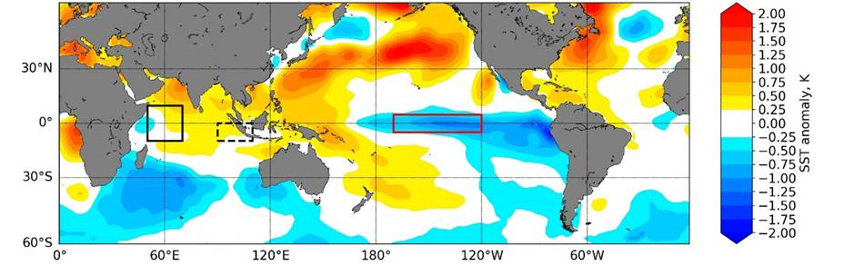 Sea surface temperature anomaly plot